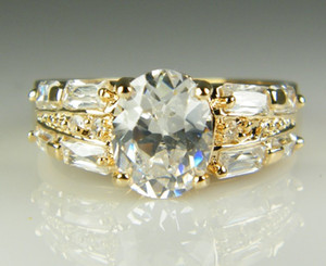 Wholesale Luxury 18k Solid Yellow Gold plated crystal Zircon Gemstone Ring Gold engagement wedding lovers couple Ring,Free Shipping Wholesale