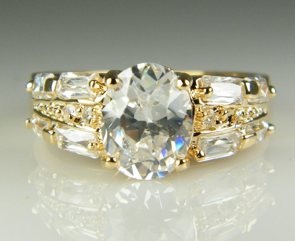 Luxury 18k Solid Yellow Gold plated crystal Zircon Gemstone Ring Gold engagement wedding lovers couple Ring,Free Shipping Wholesale