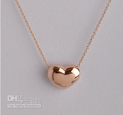 Women Love Heart Shape Chain Pendant Necklace Crystal 18K Rose Gold Plated