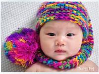 foto de garota grátis venda por atacado-Crochet Recém-nascidos Chrismas Elf Chapéu Do Bebê Foto Prop Crochet Meninas Meninos Chapéu Do Bebê Frete Grátis