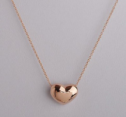 Wholesale Mini Heart Necklaces - 2015 hot mini heart shaped pendant necklace for women, OL 18k gold plated jewelry Rose chains necklaces