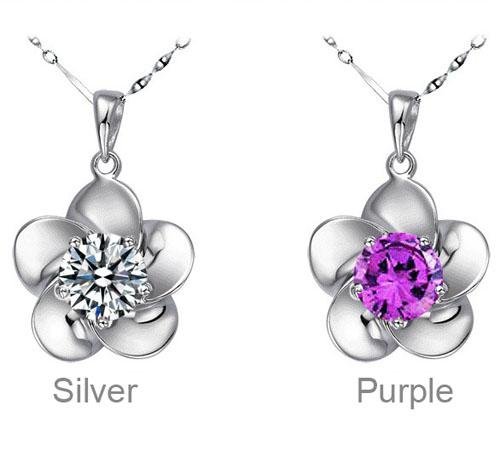 New Fine Rose Flower Pendants Austrian Crystal Necklace 925 Sterling Silver Plating Swarovski Elements Diamond Chain Necklace 2 Colors Free