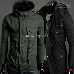 Wholesale Trench Coat Mens Army Green - men's jacket Hot Fashion outerwear coat New Mens Jacket Trench Coat Fashion Blazer Black Army Green free shipping