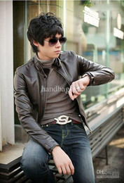 Wholesale Sexy Leather Jackets Fur - Outerwear coat Men's jacket Slim Fit Sexy Style PU Leather Jacket Coat Black Brown free shipping