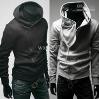 sudadera negra con cremallera al por mayor-Chaqueta de los hombres Prendas superiores Sudaderas con capucha Sudaderas Hombres Casual Zip Up Hoodie shirt Negro Gris envío gratis