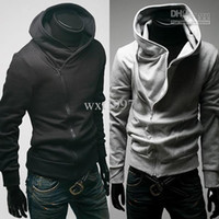 Wholesale Zip Up Hoodie Shirt - Men's jacket Upper Garments Hoodies & Sweatshirts Men Casual Zip Up Hoodie shirt Black Gray free shipping