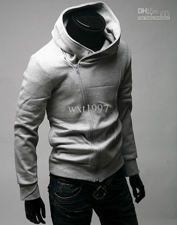 Men Casual Zip Up Hoodie shirt Black Gray