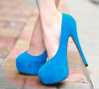 2013 New Size 40 Black Red Blue Colorful Suede Talons hauts Pompes Sexy Platform Talons Chaussures 4 Couleurs