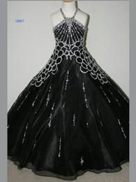 Wholesale Kids Glitz Pageant Dresses - 2015 Kids Pageant Dresses Organza Black A-Line Little Girls Pageant Party Dress Sequins Glitz Dress GD30