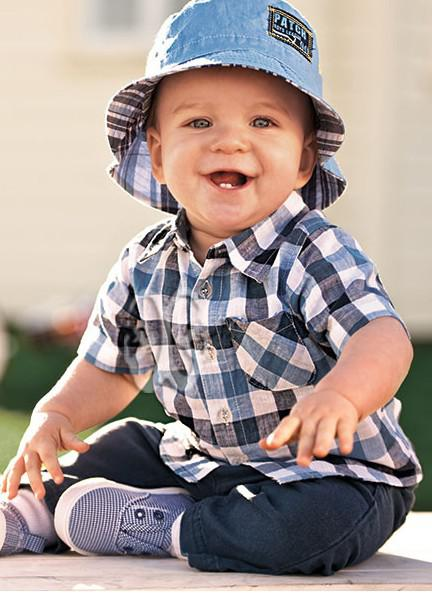 Best Summer Baby Boy Clothes Suit Plaid Shirt With Short Sleeves   ...
