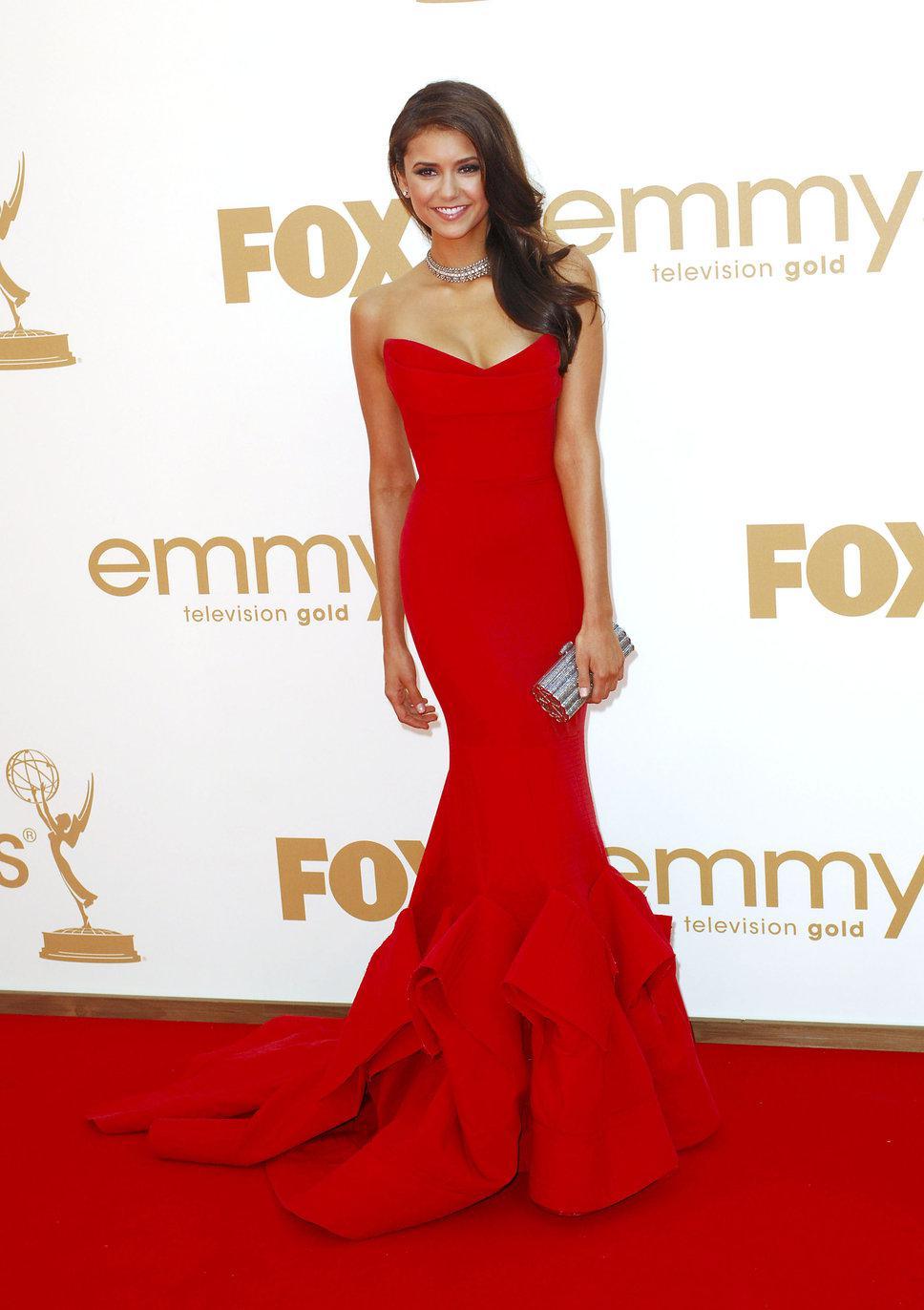 Emmys 2012 Nina Dobrev In Red Satin Stapless Fashion Mermaid Dress ...