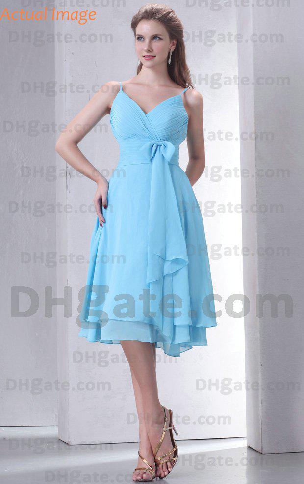 Light blue bridesmaid dresses chiffon spaghetti pleats for Short light blue wedding dress