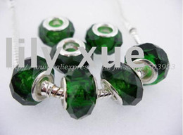 Wholesale large wholesale beads - Hot sale, crystal beads dark green Glass European Charms Beads with large hole beads,7*12.8mm