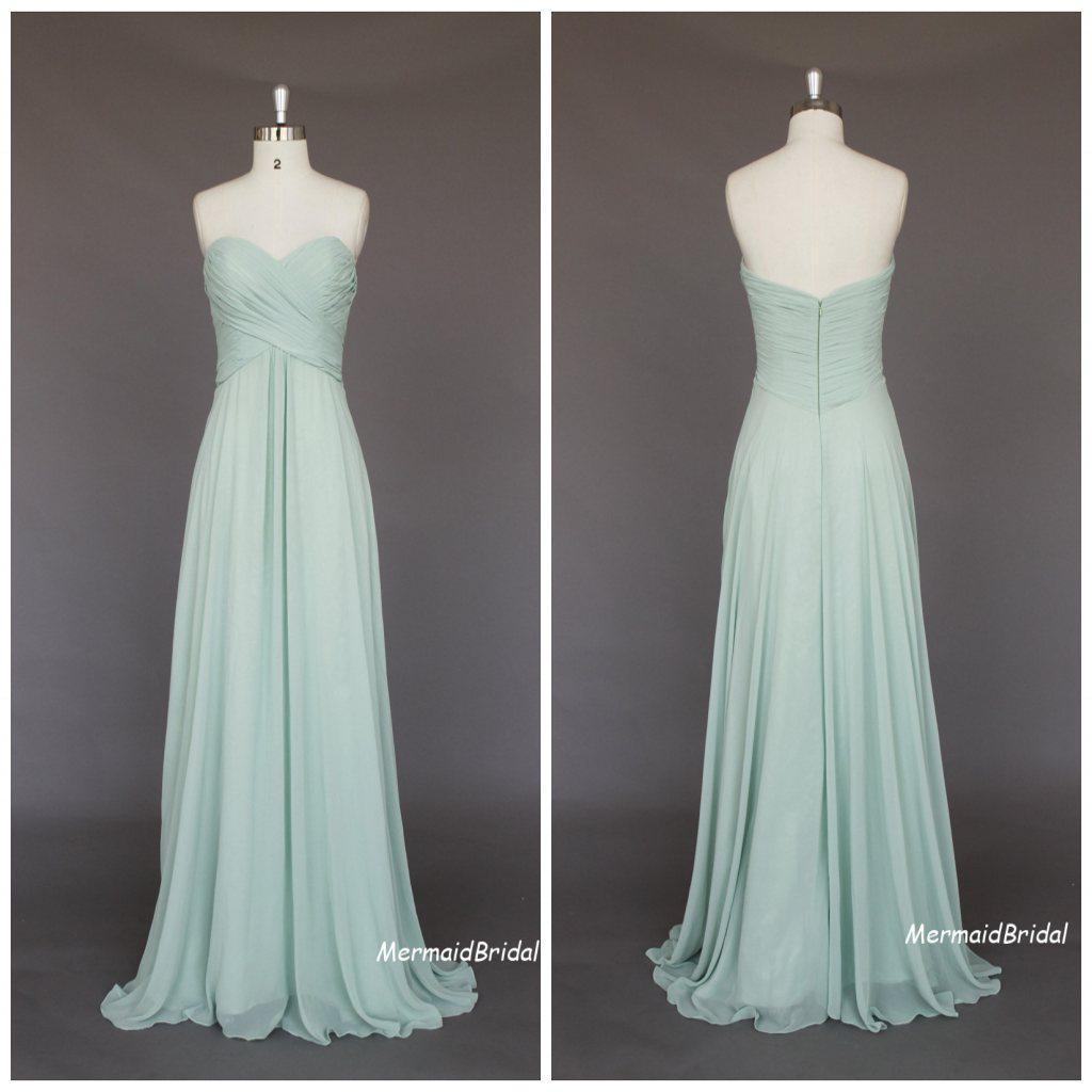 Sage Cheap Long Bridesmaid Dresses Sweetheart Empire Full Length ...