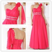 Wholesale Single Shoulder Wedding Dresses - Single shoulder strap with flower Bridal gown wedding dress evening long dress Special Occasion Dresses 511