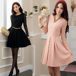 Wholesale Lady Ball Slim - Free ship women's dress Ladies Dress Women's lace stitching Slim OL long-sleeved dress S-XL #312