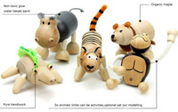 Wholesale Maple Animal - Anamalz Maple Wood Handmade Moveable Animals Toy Farm Animal Wooden Zoo Baby Educational Toys