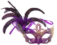 Wholesale Christmas Festive Masks - 50pcs high quality festive feather Mask for kids&adult Masquerade the bar dance party Mask