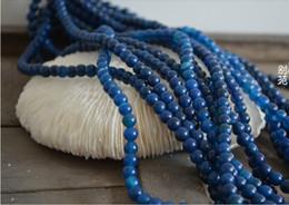 6mm halb kostbare perlen online-DIY Schmuck 6mm Natürliche Edelstein Halbedelblau Achat Runde Lose Perlen Fit Armband 186 teile / los