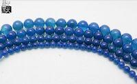 Wholesale Semi Precious Gemstone Beads 8mm - DIY Jewelry 8mm Natural Gemstone Semi-precious Blue Agate Round Loose Beads Fit Bracelet 144pcs lot