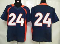 camisola de elite masculina venda por atacado-Todo o time de futebol americano de elite de time 24 Jersey de rúgbi de jogo de camisa de homens azul