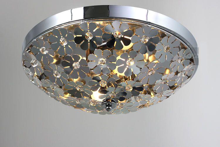 Best Modern Crystal Inserted Bedroom Ceiling Light Polished Chrome Aluminum Flower Balcony Lamp Porch Hallway Chandelier Lights Under 105 53