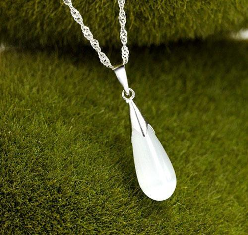 New Fashion Jewelry Long Big Opal Pendant Water Wives Chain Necklace 925 Sterling Silver Plating Women Pendant Necklace