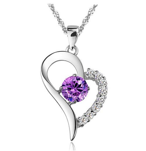 Fashion Amethyst Heart Pendant Necklace 925 Sterling Silver Love Necklace Pendant Women Jewelry With Full Purple/Silver Crystal Free shippi