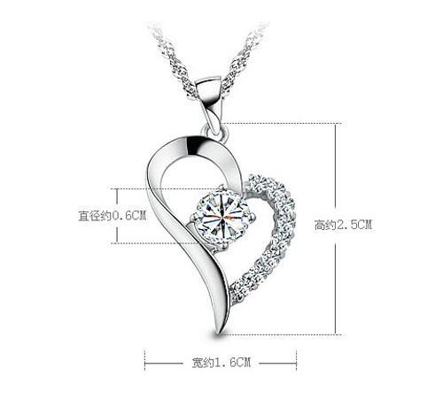 Moda Amethyst Heart Pendant Collana 925 Sterling Silver Love Collana Pendente Donne Gioielli con gioielli con cristallo viola / argento pieno Shippi