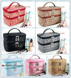 Wholesale Double Makeup Bag - Double Layered character Women Zipper Cosmetic Case Bag Makeup Purse