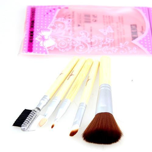 Spazzola capelli Spazzola trucco Manico in bambù 5 pz / set / lotto Set da viaggio Spazzola il viso