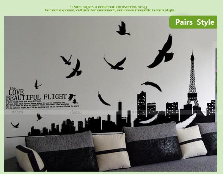 wall deco giant huge size romantic paris living room & bedroom