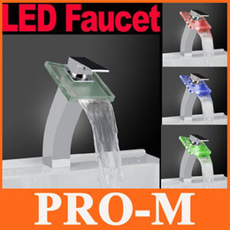 Wholesale Led Glass Sinks - Color Changing LED Faucet Glass Waterfall Bathroom Sink Faucet Centerset ,freeshipping Dropshipping