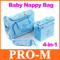 Wholesale Pvc Diaper Bags - 4PCS Waterproof Baby Diaper Nappy Bag Mummy Changing Set Tote Handbag Ladybird Free Dropshipping