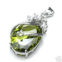 Exquisite Silber Peridot Oval Silber Halskette