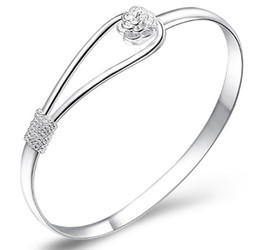 Wholesale Good Party Flowers - 20% Off!30% Sterling Silver Bangle Bracelet With Flower Good Crystal Silver Color Freeship