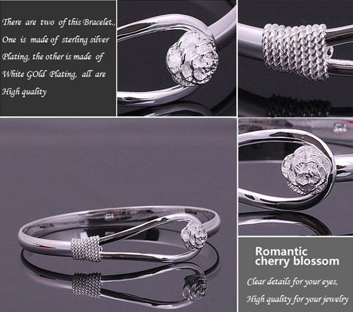 20% Off!30% Sterling Silver Bangle Bracelet With Flower Good Crystal Silver Color Freeship