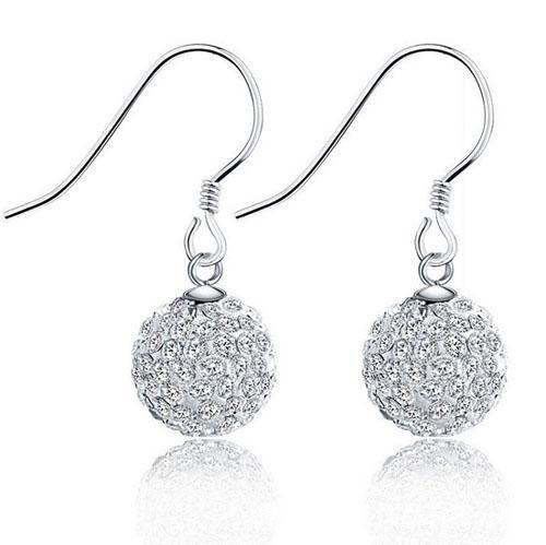 Moda Kristal Takı Setleri Lüks Topu Boncuk Kolye Kolye / Küpe Takı Seti 925 Ayar Gümüş Kaplama Kadınlar Düğün Takı