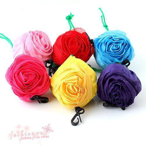 top popular Hot ! Mix Color Pretty Rose Foldable Reusable Shopping Bag 39.5cm x38cm,(002247) 2019