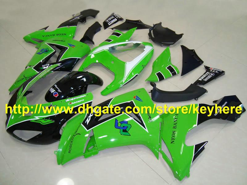 fashion green black Fairing for kawasaki ninja ZX-10 2006 2007 ZX 10R 06-07 ZX10R 06 07 body RX1A
