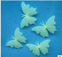 Wholesale Glow Sticks Butterflies - 3D PVC Fluorescent Glow Butterfly For Wall Stickers Decoration baby room Baby Gift Novelty Items