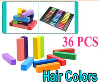 Wholesale Color Pastel Chalk - New 36Pcs Fashion Non-toxic Temporary Color Hair Chalk Dye Pastels ,Free Shipping Dropshipping