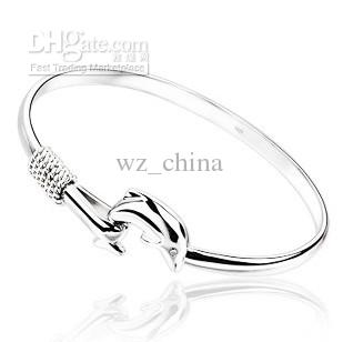 Fashion White Gold Dolphin Bangles 925 Sterling Silver Bracelets Dolphin Love Legend Open Bangle For Women From Indian Adjustable Size
