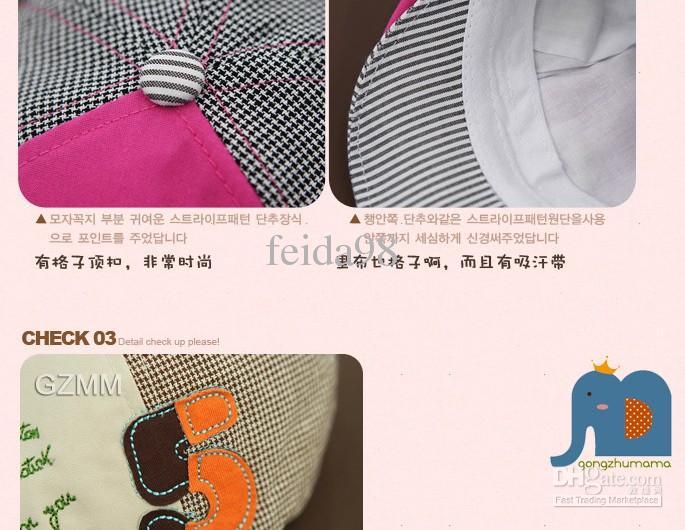 Primavera nueva versión coreana de casquillo niños sombrero bebé sombrero hombres y mujeres bebé número 5 boinas