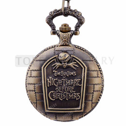Wholesale Antique Tags - LPW211 Teboer Jewelry 5pcs LOT Pocket Watches Tim burton Nightmare Before Christmas Design Pocket Watch Vintage Look