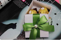 Wholesale Pearl Candy Favors - 50Pcs Lot Gift Box Pearl With Green Color Ribbon Wedding Candy Boxes Wedding Favors 2015 Hot Sale