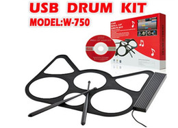 Wholesale Drum Kit Usb Midi - High quality Portable MIDI Drum W750 Musical Accessory USB Drum Roll Up Drum Kit up to 6 pads