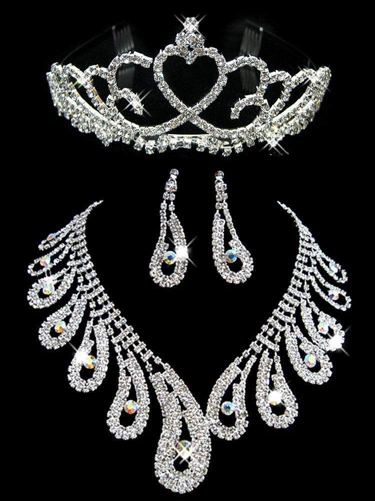 Elegant artificial diamond bridal jewellery wedding jewelry sets see larger image junglespirit Gallery