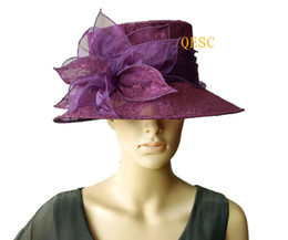 Wholesale Derby Cover - Purple organza hat  bridal hats covered lace with leaf flower for wedding races party church
