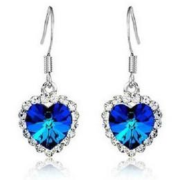 Wholesale Peach Chandelier - 24pairs love ocean Heart Crystal earrings Titanic colorful peach heart earring